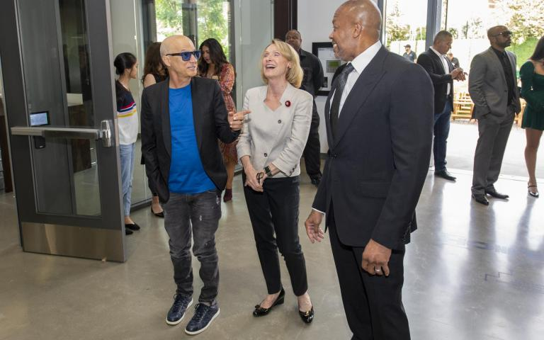 "Left to right: Jimmy Iovine, Erica Muhl, and Andre ""Dr. Dre"" Young"