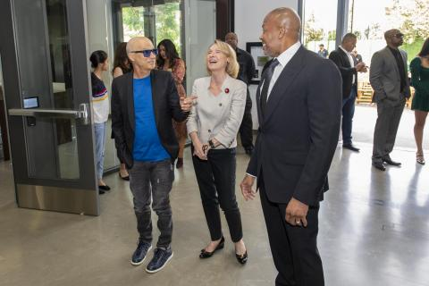 """Left to right: Jimmy Iovine, Erica Muhl, and Andre """"Dr. Dre"""" Young"""