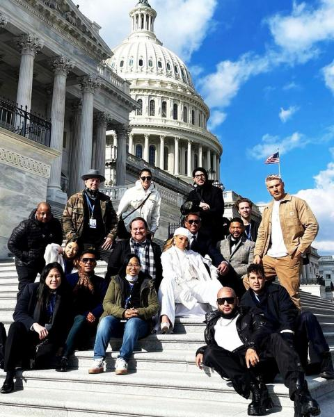 Lenny Wee with Jennifer Lopez and others in front of the U.S. Capitol
