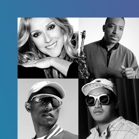 headshots of Celine Dion, Donald Harrison, Pharrell Williams, and Chad Hugo