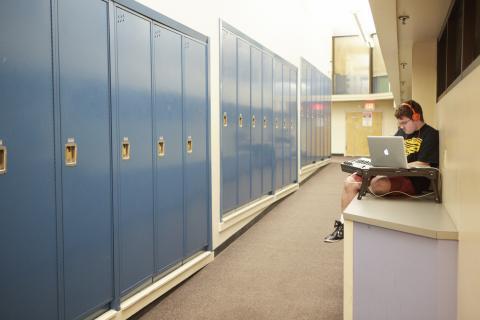 Lockers in a hallway